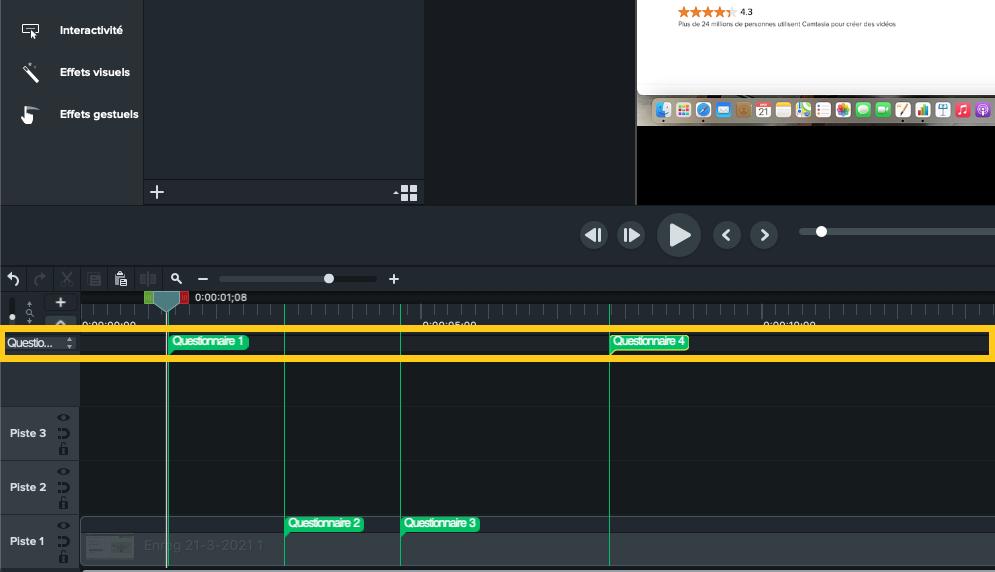 Capture d'écran du plan de montage de Camtasia avec le mode ques-tionnaire activé, parfait pour capter l'attention des élèves en classe.