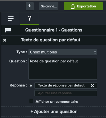 Capture d'écran du panneau des propriétés pour la modification d'un questionnaire sur Camtasia.
