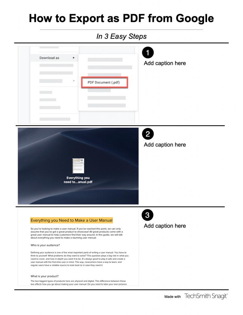 Exemple de manuel d'utilisation de logiciel créé avec un template d'images combinées sur Snagit