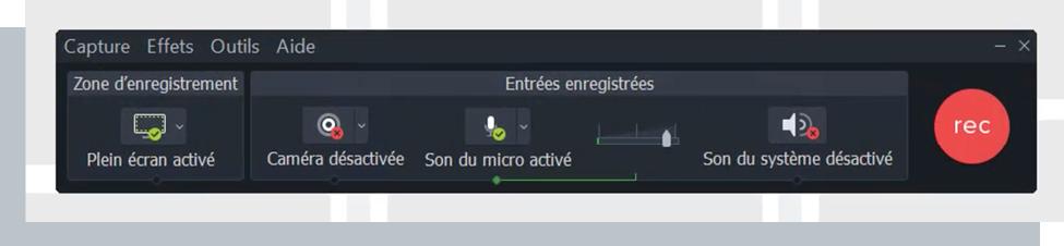 Capture d'écran de Camtasia, excellent outil pour créer une classe virtuelle efficace