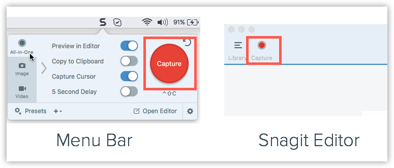 Faire une capture d'écran sur Mac avec Snagit Editor