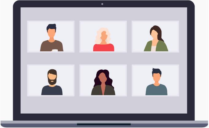 Illustration d'une leçon via des plateformes de visioconférence comme Zoom ou Microsoft Teams