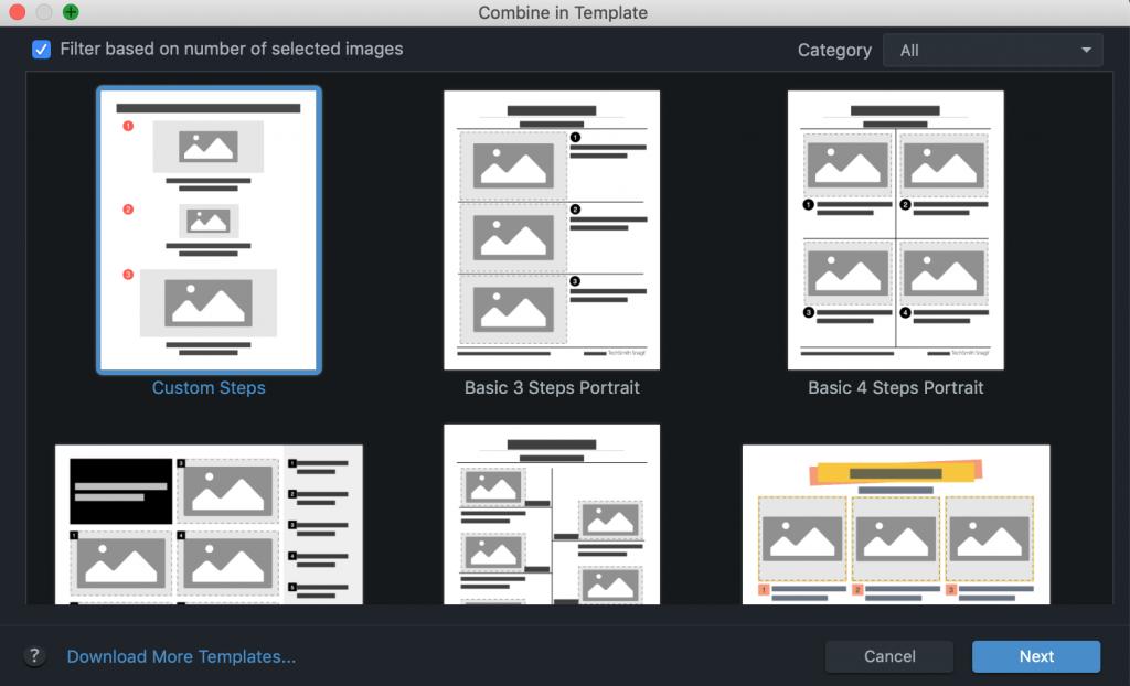 Exemples de modèles d'images combinées dans Snagit de Techsmith