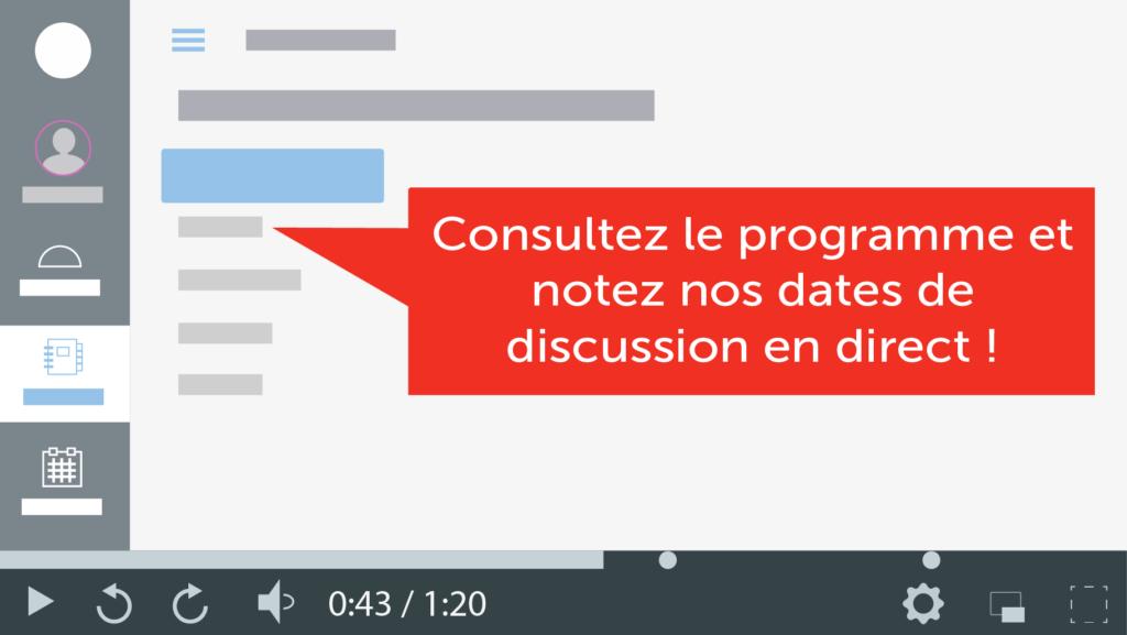 Capture d'écran d'un calendrier vidéo montrant comment enseigner à distance grâce à ce type de vidéos