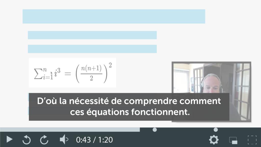 Capture d'écran d'une vidéo de cours avec des sous-titres pour un apprentissage asynchrone de qualité